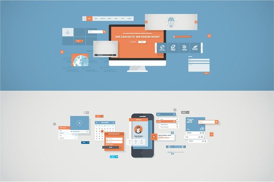 Conceptos de diseño plano para Aplicación móviles y sitio web