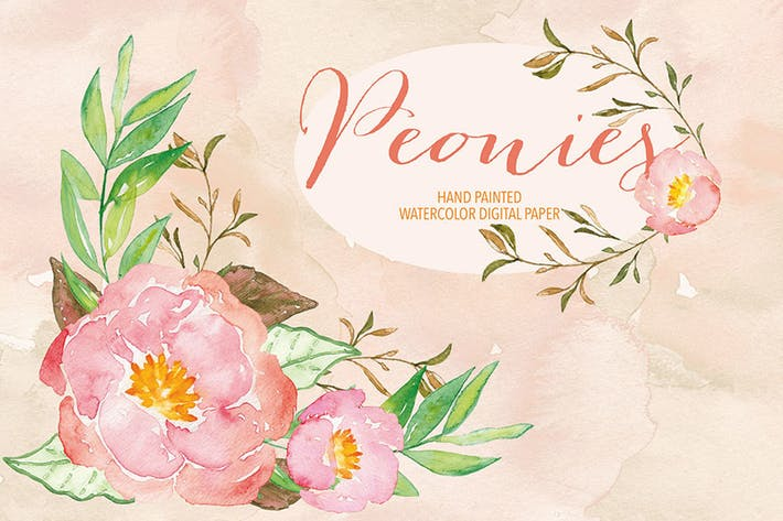 Thumbnail for Watercolor Peony clipart