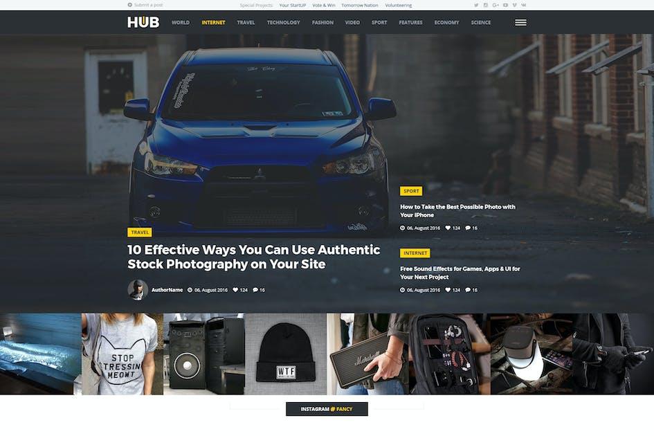 Download Hub - Creative Blog & Magazine Drupal 8 Theme by tabvn
