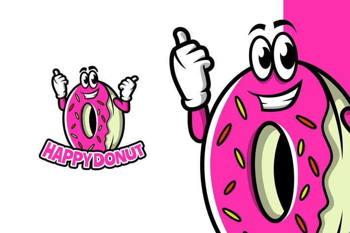 Thumbnail for Happy Donut - Mascot Logo Template