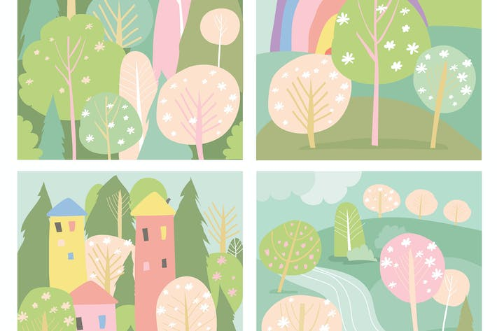 Thumbnail for Set of spring lanscape in flat style. Vector illus
