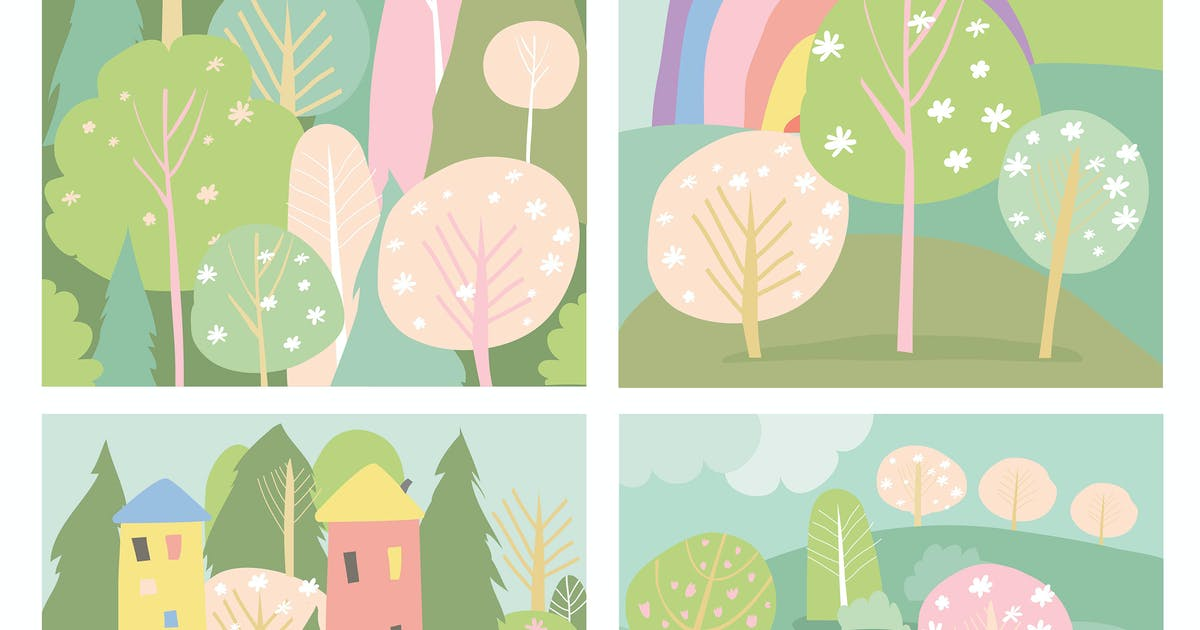 Download Set of spring lanscape in flat style. Vector illus by masastarus