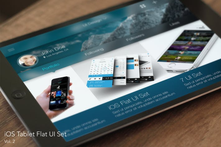 Thumbnail for iOS Tablet Flat Pad UI Set Vol. 2