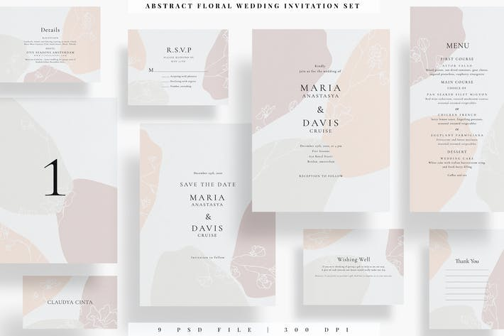Thumbnail for Coffret d'invitation de mariage floral abstrait AE