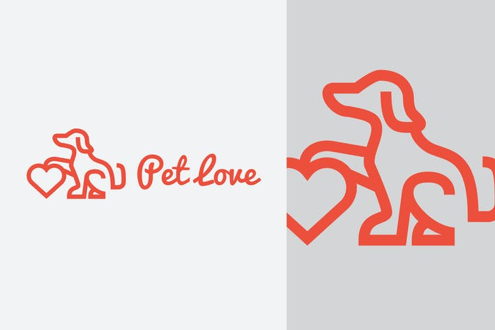 Thumbnail for Pet Love - Dog Mascot Logo
