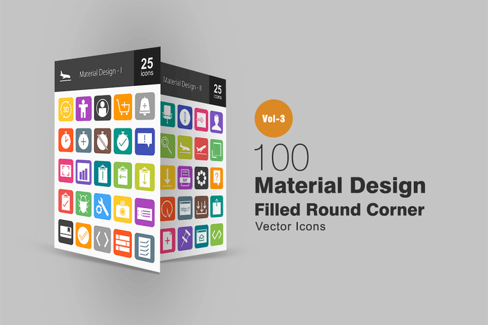 100 Materialdesign Flache runde EckIcons