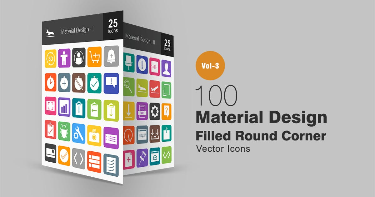 Download 100 Material Design Flat Round Corner Icons by IconBunny