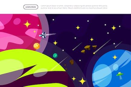 Space Adventure - Space Illustration Scene
