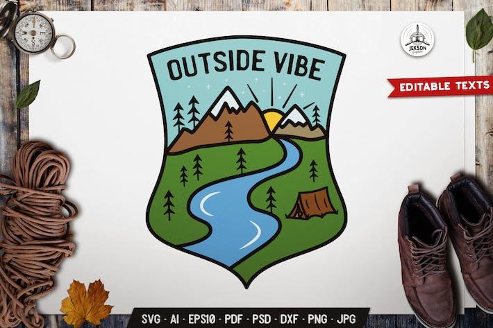 Thumbnail for Camp Outdoor Emblem Modern Logo SVG. Travel Badge