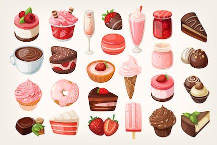 Schokoladen- und Erdbeerdesserts