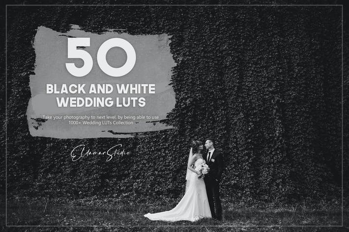 Thumbnail for 50 Black and White Wedding LUTs Pack