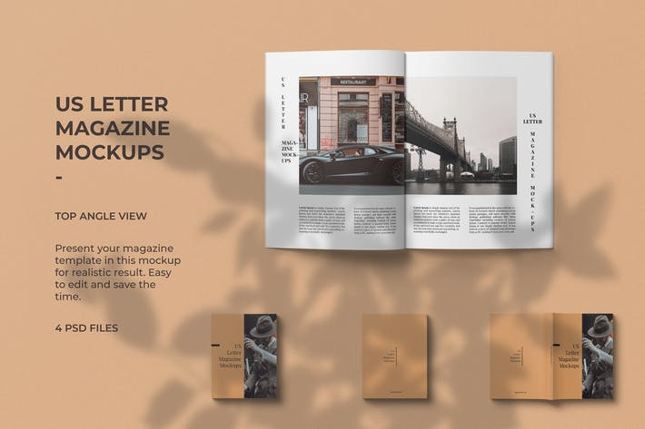 Thumbnail for US Letter Sizes Magazine Mockup Top Angle View