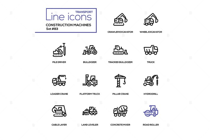 Thumbnail for Construction machines - line design icons set