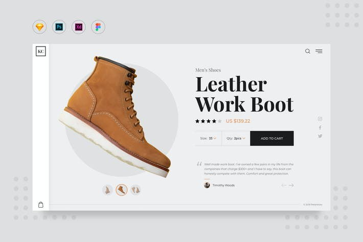 Thumbnail for DailyUI.V7 Shoes Product Page Website UI Template