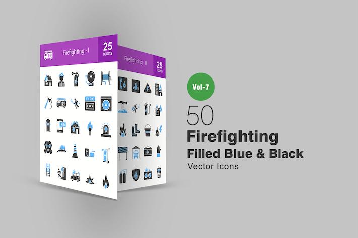 Thumbnail for 50 Firefighting Blue & Black Icons