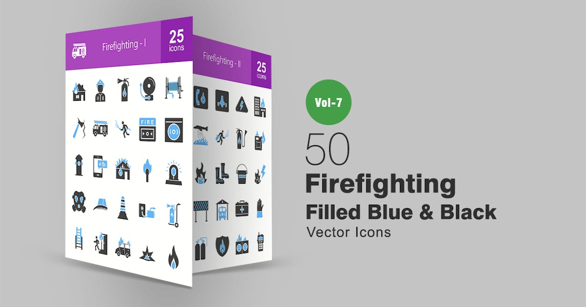 Download 50 Firefighting Blue & Black Icons by IconBunny