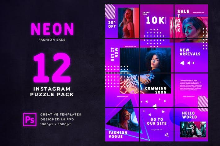Instagram Puzzle Neon Fashion Sale
