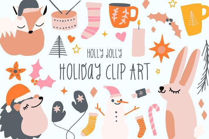 Holly Jolly Holiday Clip Art