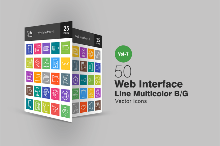 Thumbnail for 50 Web Interface Line Multicolor B/G Icons