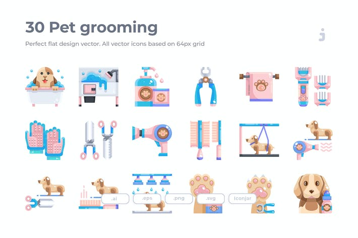 Thumbnail for 30 Pet grooming Icons - Flat