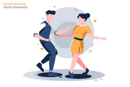 Couple Dancing - Vector Illustration
