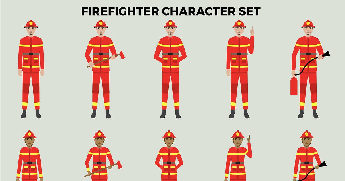 Download Firefighter Character Set – Illustrations by designesto