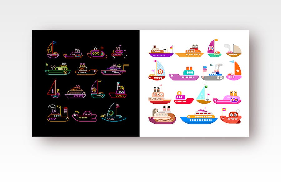 6 flat design Ships and Boats vector icon sets