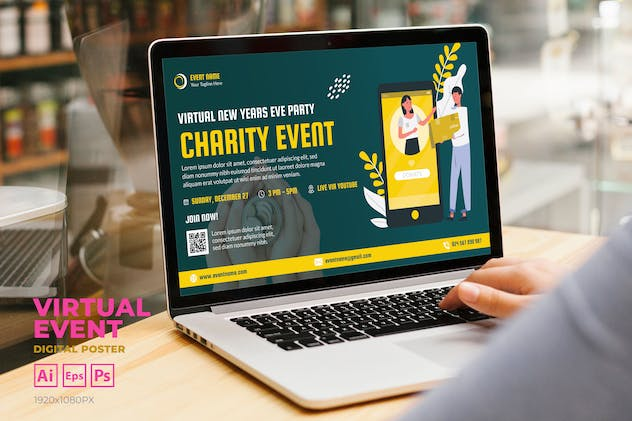 Virtual Charity Event Digital Poster Flyer