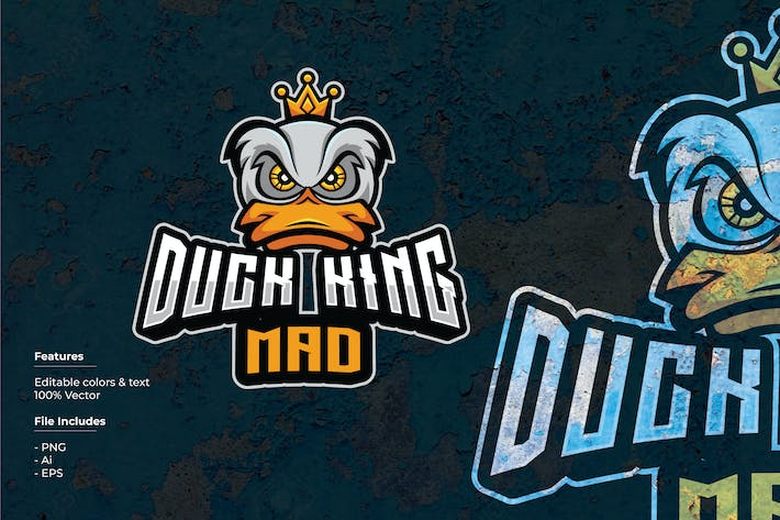 Thumbnail for Duck King Mad Sport and Esport Logo Template