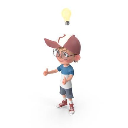 Cartoon Boy Has An Idea