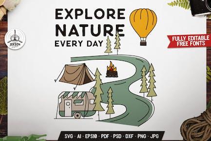 Explore Nature Badge, Vector Camping Retro Graphic