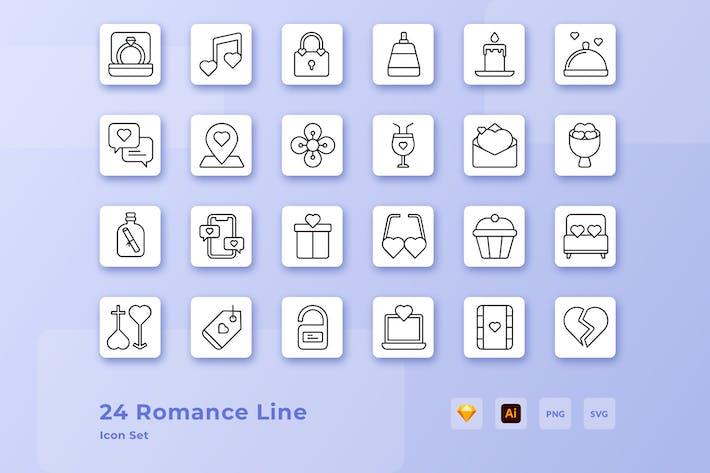Valentine Romantik Liebe Icon Linie
