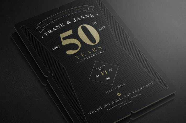 Thumbnail for Deluxe Letterpress Anniversary Invitation