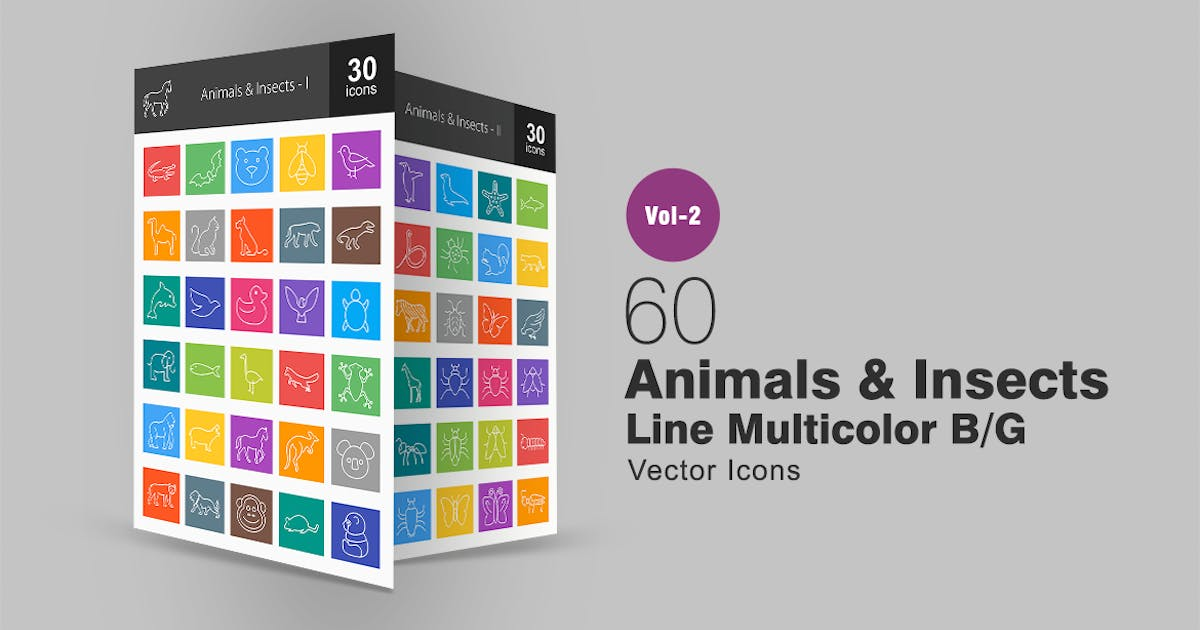 Download 60 Animals & Insects Line Multicolor Icons by IconBunny