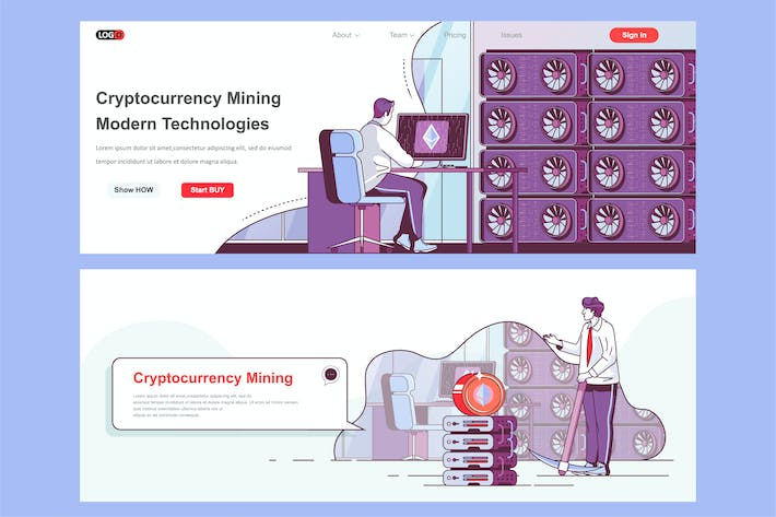 Blockchain Mining Header Footer or Middle Content