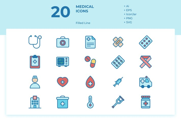 Thumbnail for 20 Medical Icons (Filled Line)