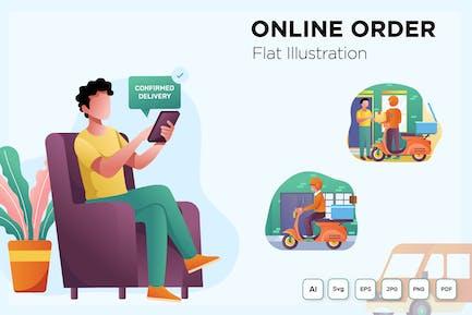 Online Order Flat Illustration