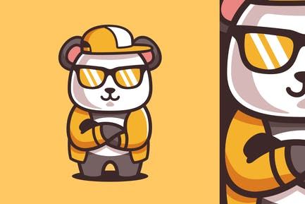 Cartoon Coole Panda Wear Sonnenbr
