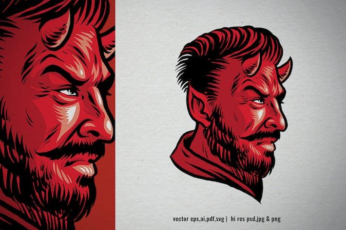 estilo dibujado a mano de la cabeza del diablo