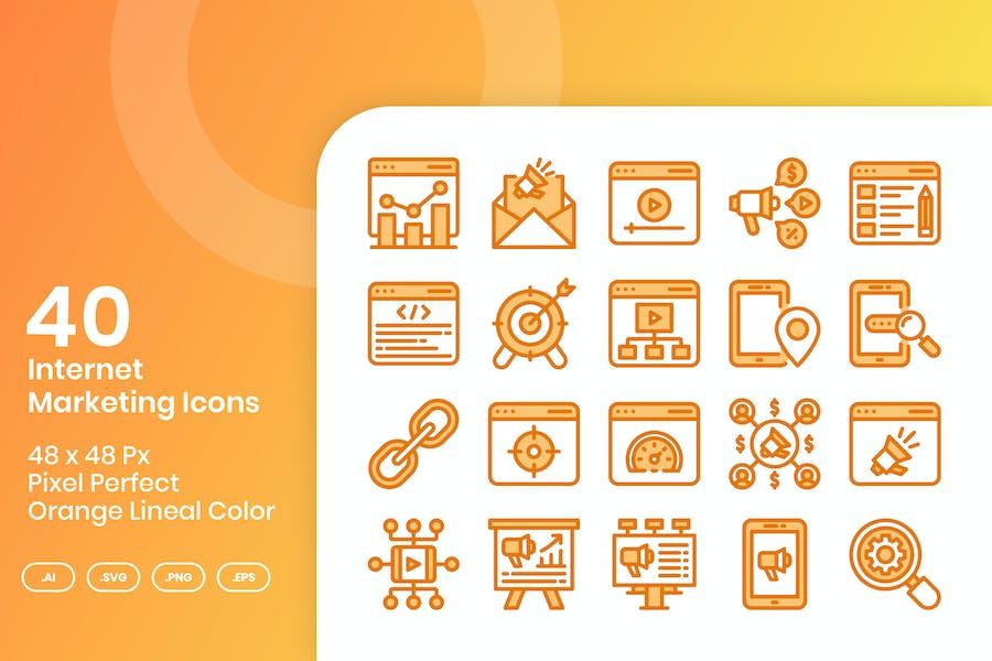 40 Íconos de marketing en Internet - Color lineal naranja