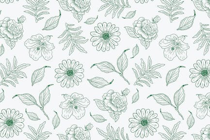 vector pattern of flowers and leaves