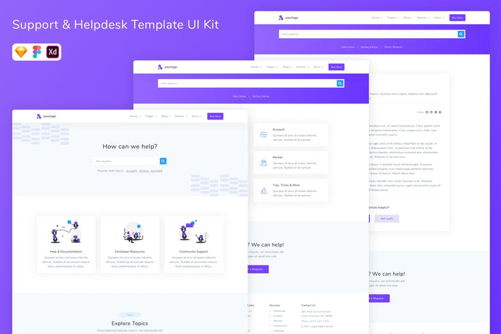 Thumbnail for Support & Helpdesk Template UI Kit