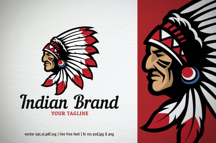 Thumbnail for indian head chief logo