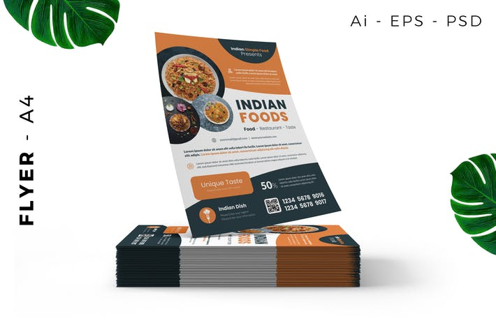 Thumbnail for Indisches Restaurant & Food Promotion Flyer Design