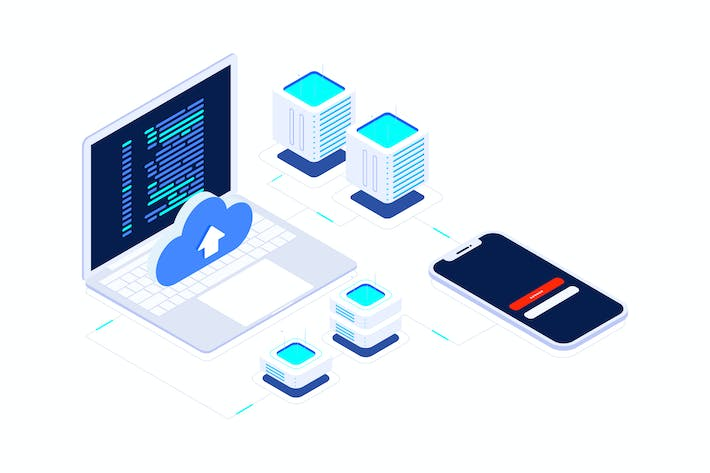 Thumbnail for Cloud Data Encryption Blockchain Isometric 1 - T2