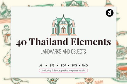 40 Thailand elements with bonus graphic template