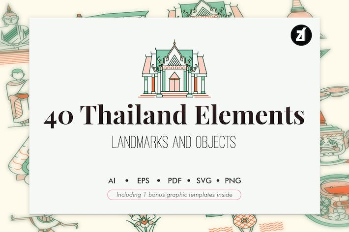 Thumbnail for 40 Thailand elements with bonus graphic template