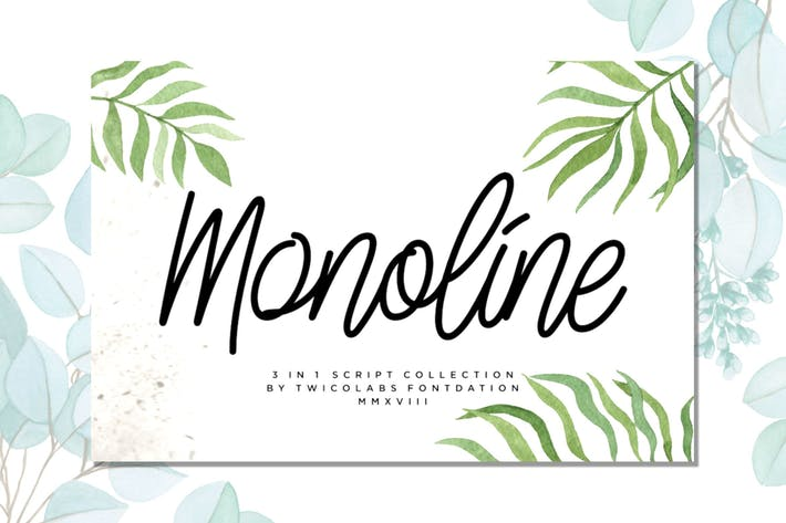 Thumbnail for Monoline Script Collection - 3 Fonts