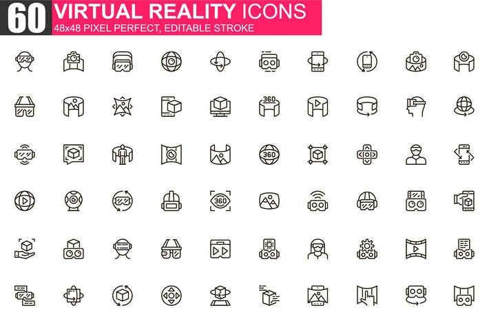 Virtual Reality Thin Line Icons Pack