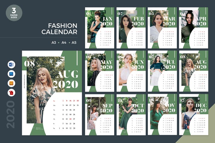 Thumbnail for Fashion Calendar 2020 Calendar 2 - AI, DOC, PSD